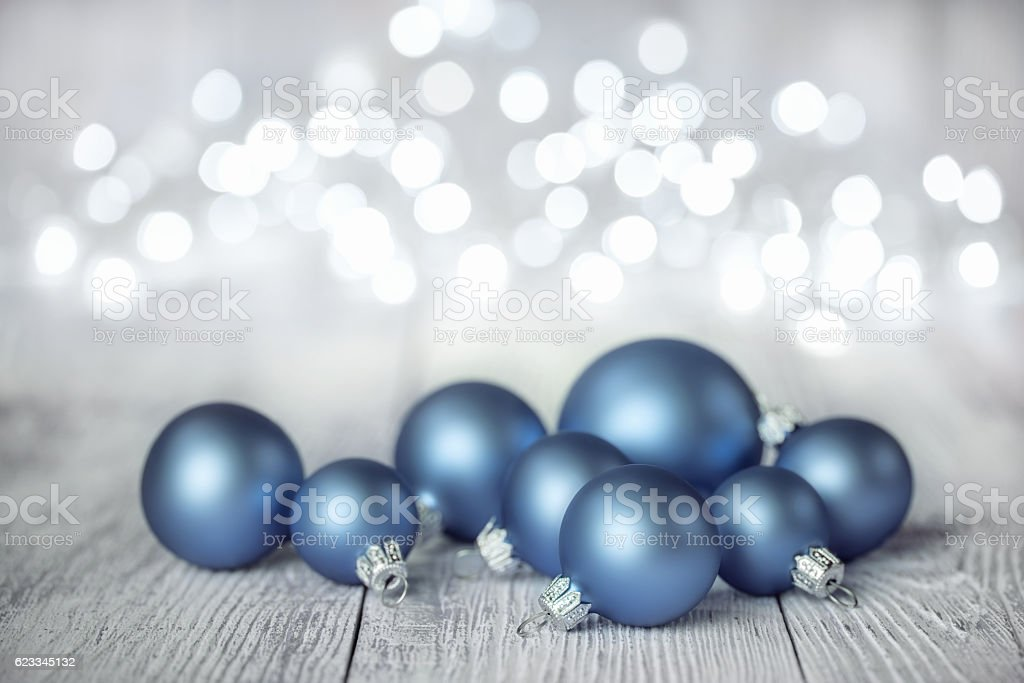 Blue Christmas Balls on White Wood Background – Foto