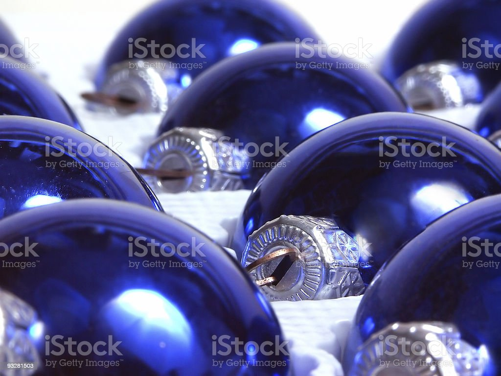 blue christmas balls stock photo