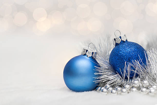Blue Christmas balls with garland stock photo