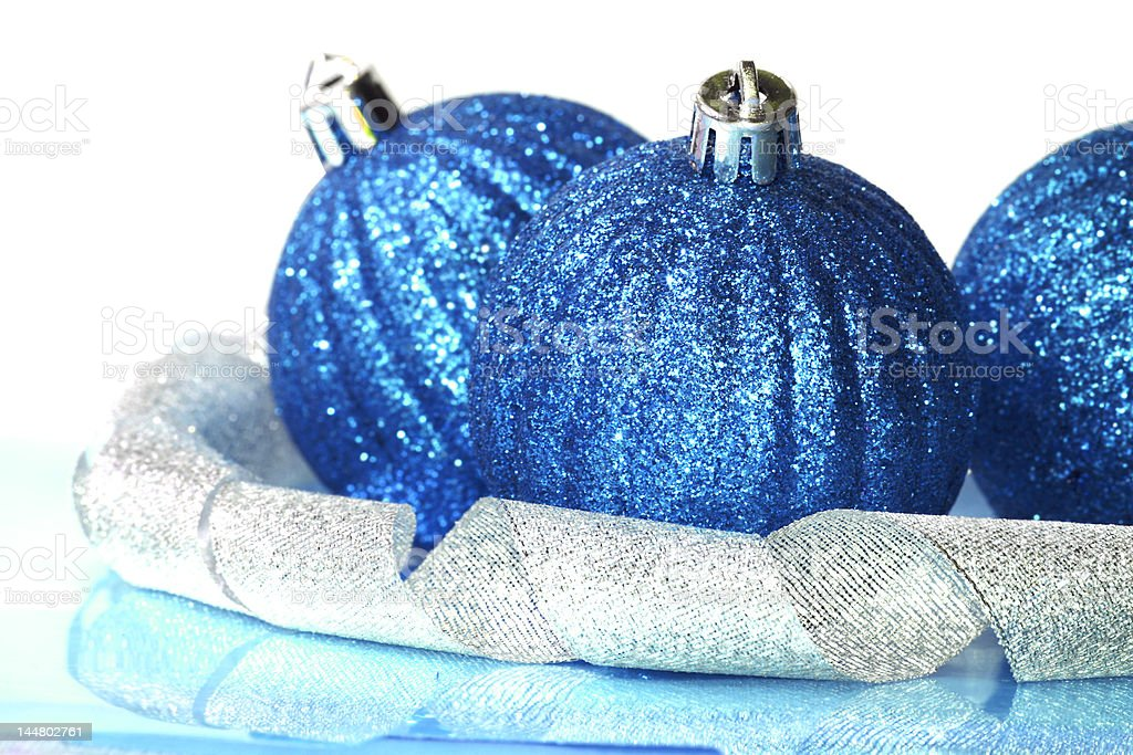 blue Christmas balls with ribbon royalty-free stock photo