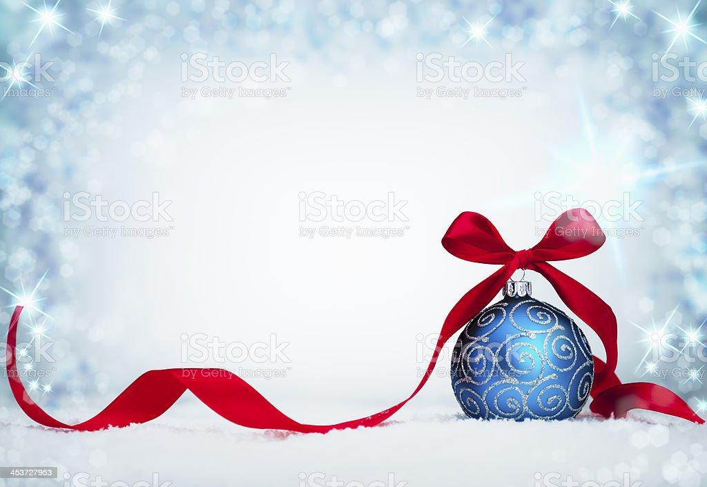 blue christmas bauble stock photo