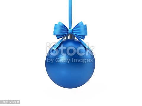 Blue Christmas bauble tied with blue velvet ribbon over white background. Clipping path included. Horizontal composition with copy space. Great use for Christmas related concepts.