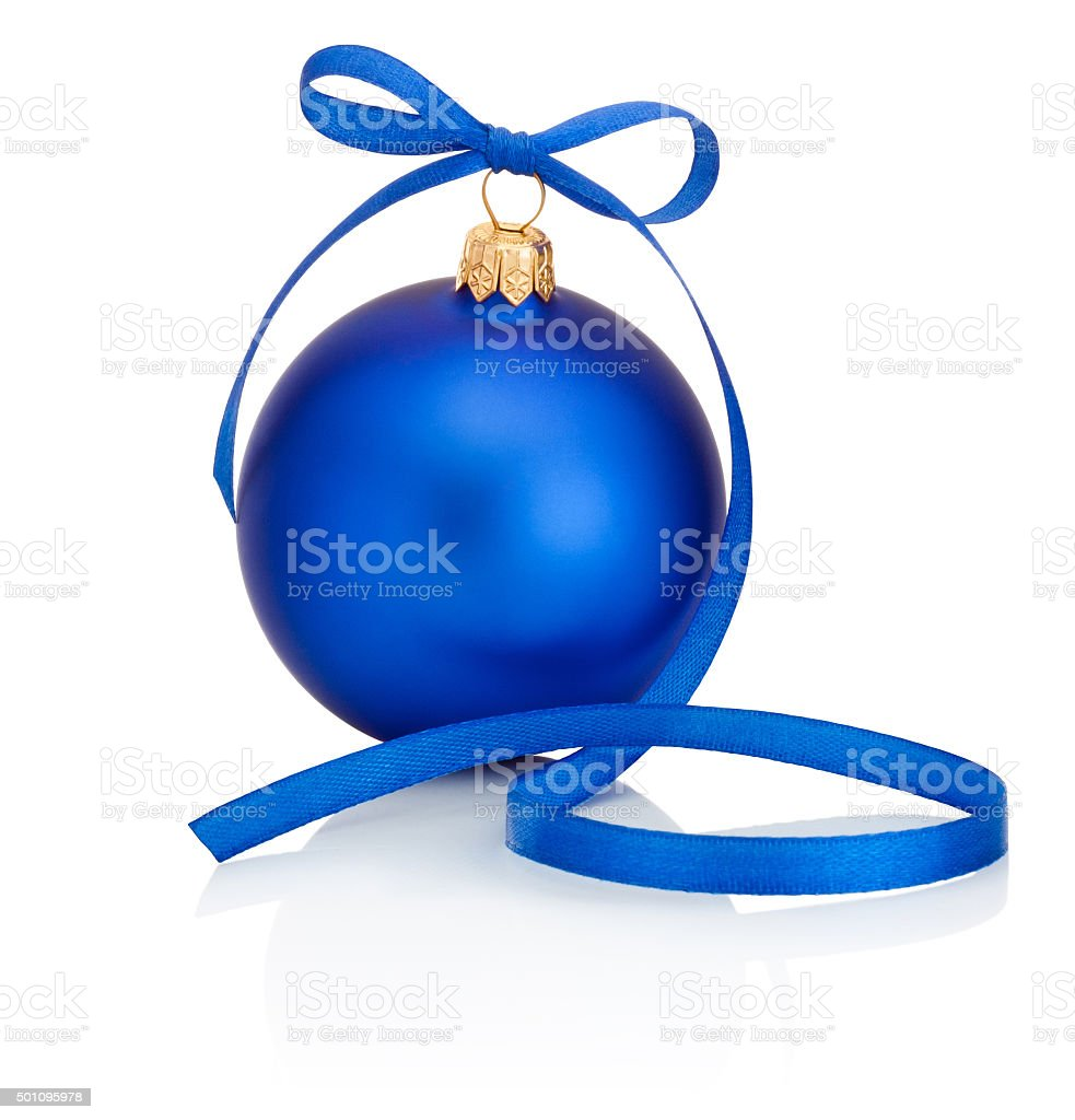 Blue Christmas bauble with ribbon bow Isolated on white background stock photo