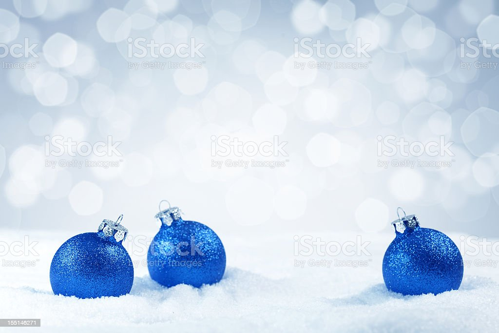 Blue Christmas baubles royalty-free stock photo