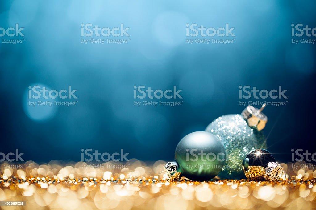 Bleu décorations de Noël-flou Bokeh lumières de décoration or - Photo