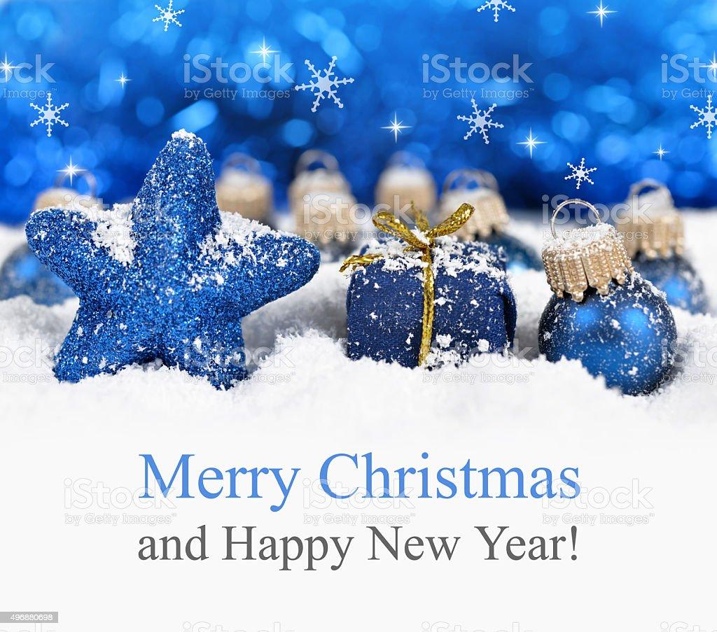 Blue christmas decorations. stock photo