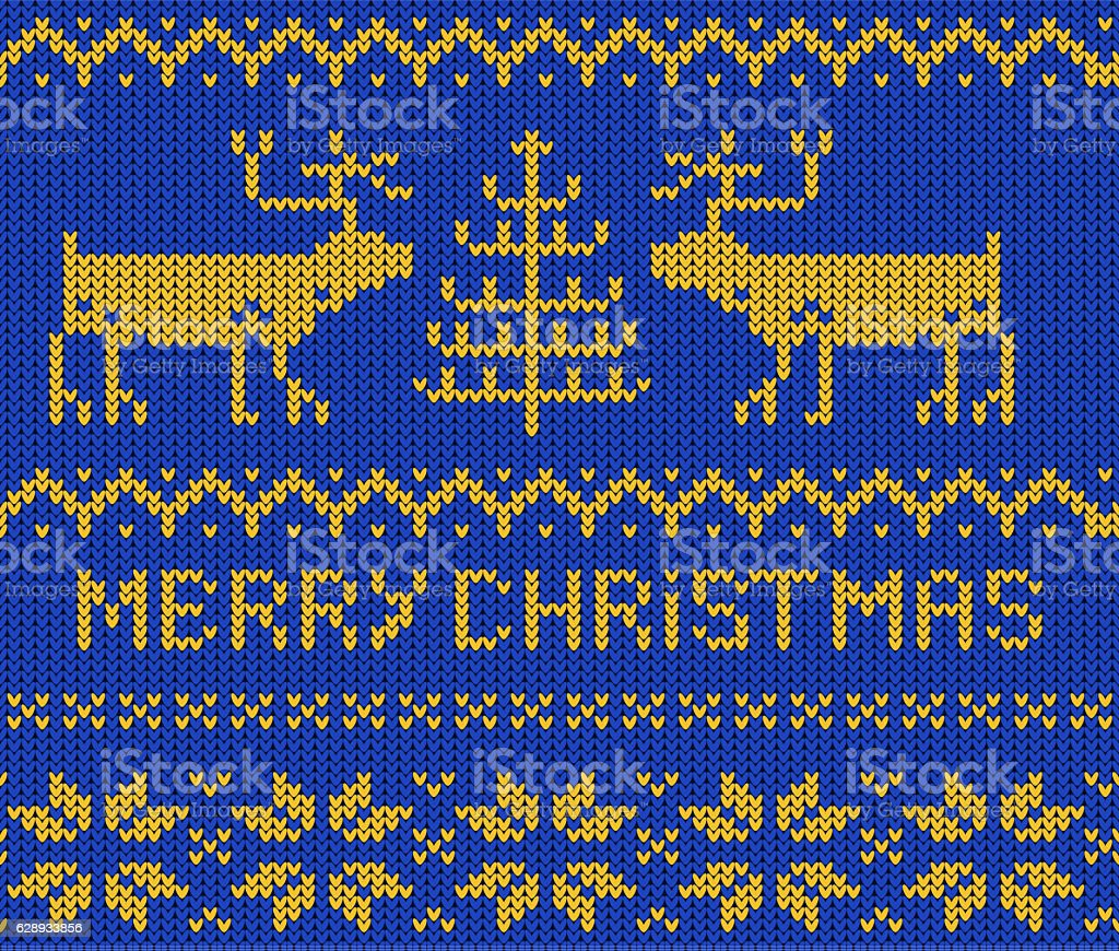 Blue Christmas Jumper seamless knitted Pattern with deers. – Foto