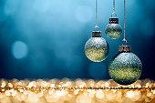 Blue Christmas - Lights Bokeh Defocused Decoration Gold