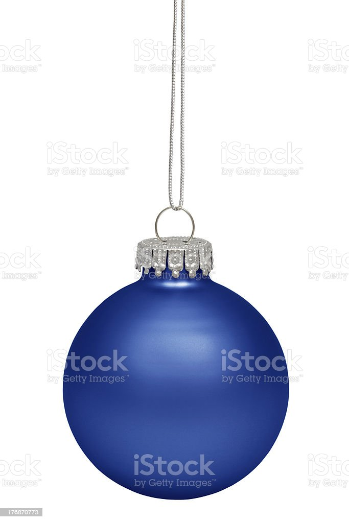A blue Christmas ornament on a white background royalty-free stock photo