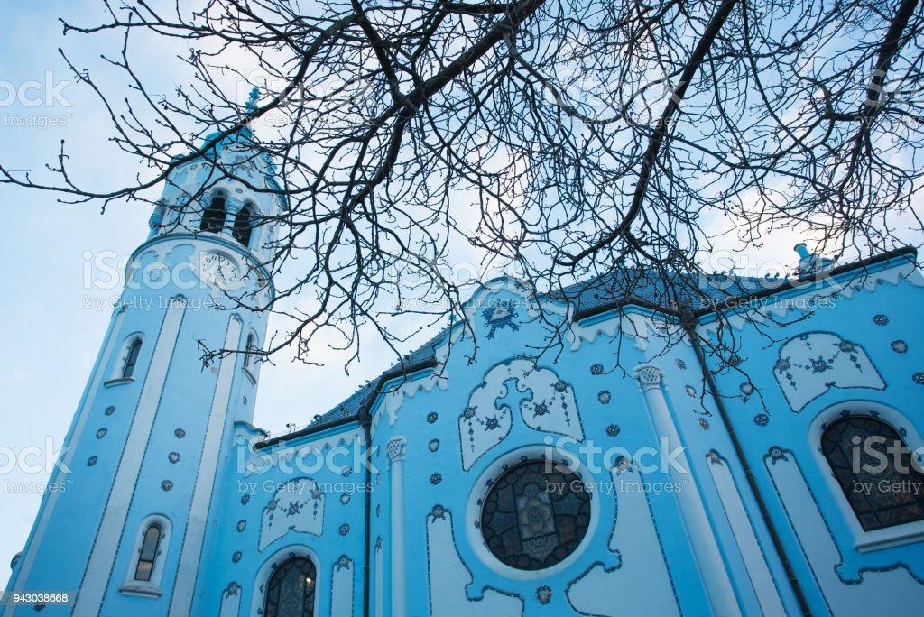 Blue Church Bratislava Slovakia stock photo