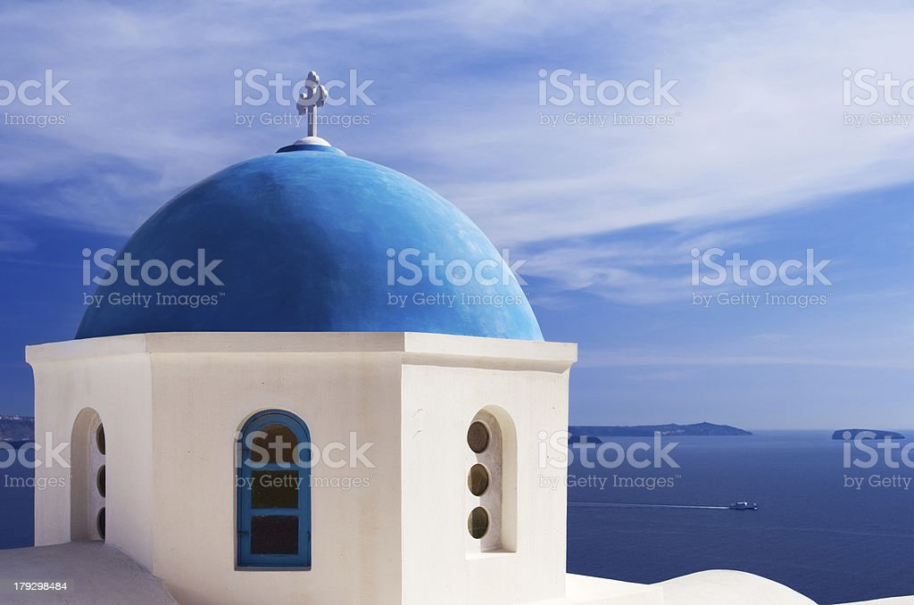 Blue church dome in Santorini, Greece royalty-free stock photo