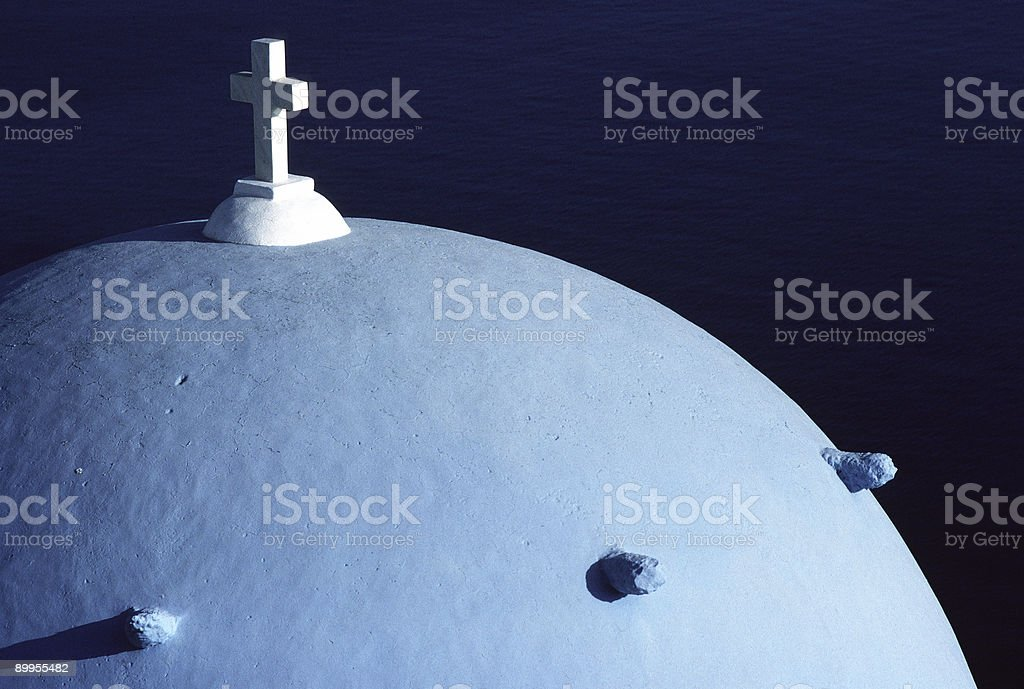 Blue Church Dome, Oia, Santorini, Greece stock photo