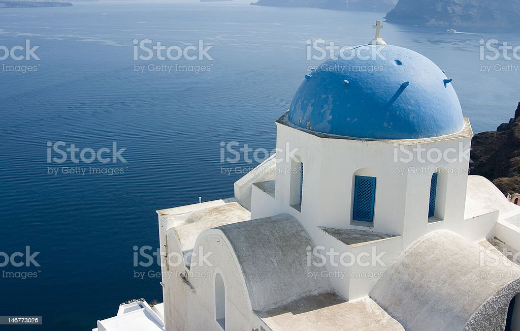 Blue Church Dome on Santorini, Greece royalty-free stock photo