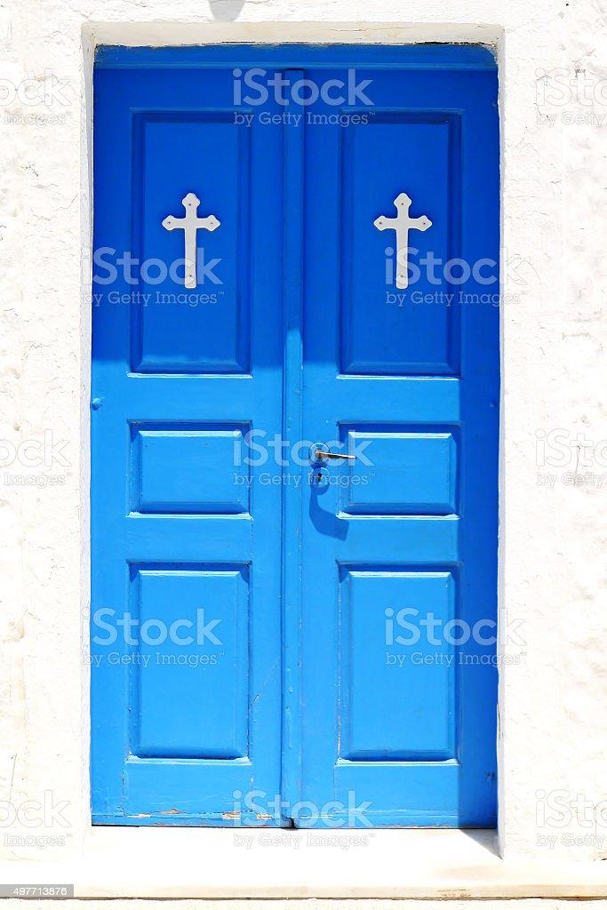 Blue Church Doors stock photo