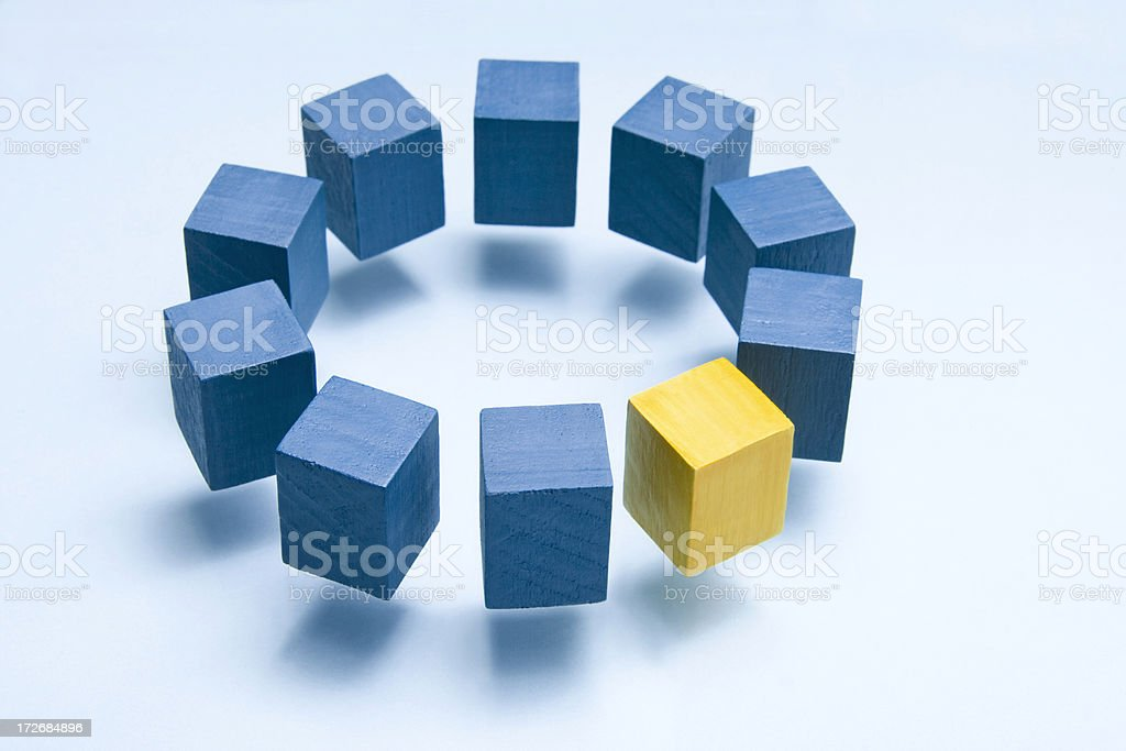 Blue circle with yellow cube royalty-free stock photo