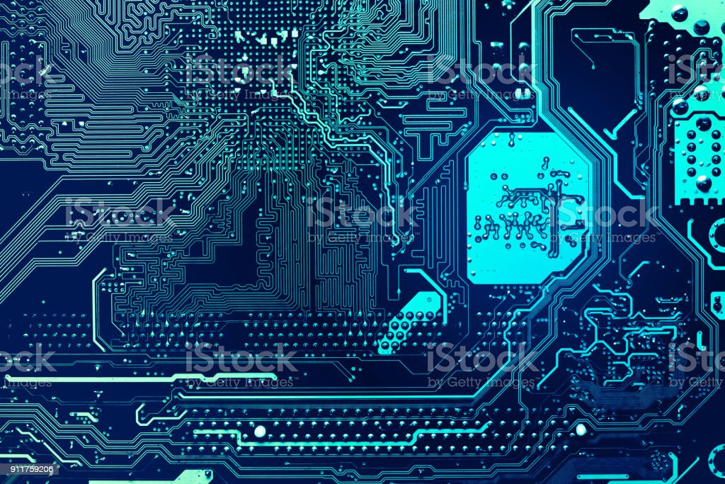 blue circuit board background of computer motherboard royalty-free stock photo