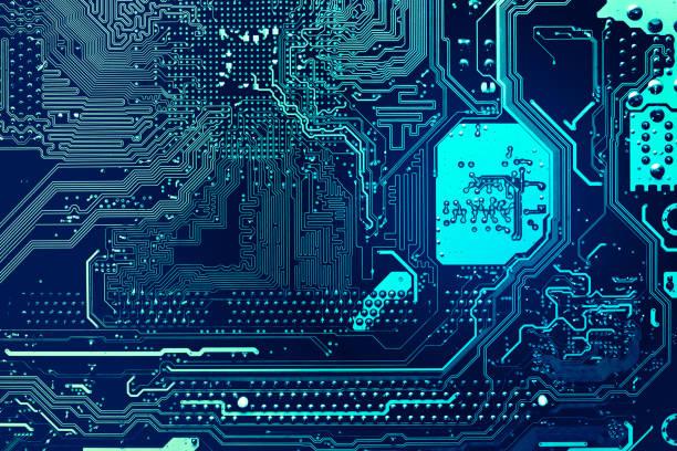 blue circuit board background of computer motherboard - scheda a circuito foto e immagini stock