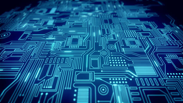 Blue  Circuit Board Pattern Close Up - 4K Resolution - Loopable Computer Hacker, Technology, Artificial Intelligence, Abstract, Machine Learning computer chip stock pictures, royalty-free photos & images