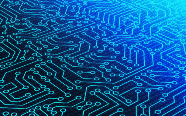 Blue circuit board pattern texture and binary number data code. High-tech background in digital computer technology concept. 3d abstract illustration. stock photo