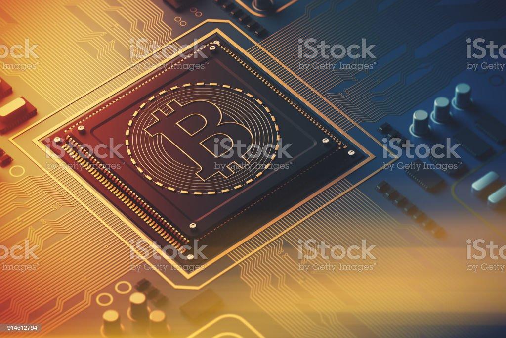 Blue circuit board, processor, bitcoin icon toned stock photo