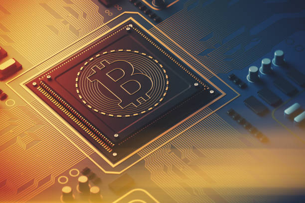 Blue circuit board, processor, bitcoin icon toned stock photo