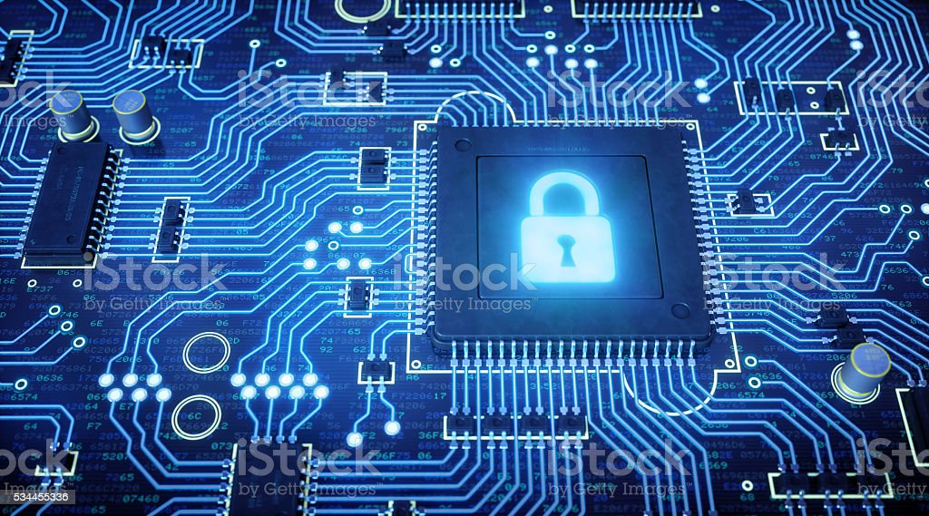 Blue Circuit Board With Glowing Padlock stock photo