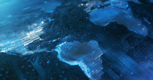 Blue Circuit Board World Map - Technology, Internet Of Things, Global Business, Artificial Intelligence stock photo
