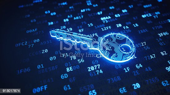 istock Blue circuit digital key on binary code 913017874