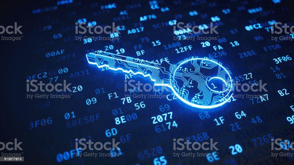 Blaue Strecke digitaler Schlüssel auf Binär-code – Foto