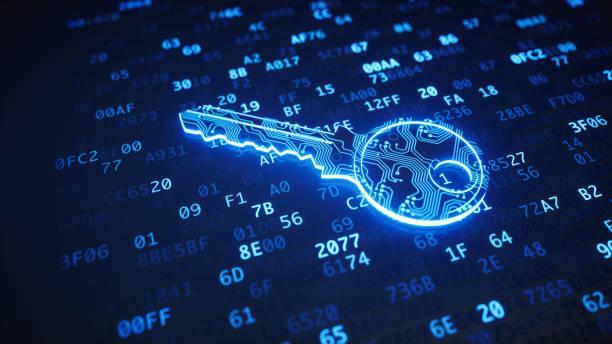 Blue circuit digital key on binary code stock photo