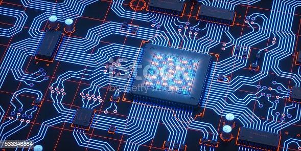 901627692istockphoto Blue Circuit With Binary LCD 533348884