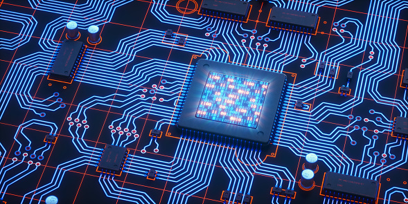 An abstract 3D render of a blue and red circuit board, with many electrical components installed. The central microprocessor has an integrated LCD showing glowing binary code. Components are labelled with random serial numbers.