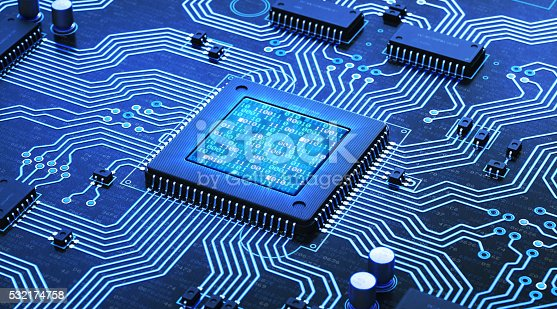 An abstract 3D render of a blue circuit board with many electrical components installed. The central microprocessor has an integrated LCD showing glowing binary code. Components are labelled with random serial numbers.
