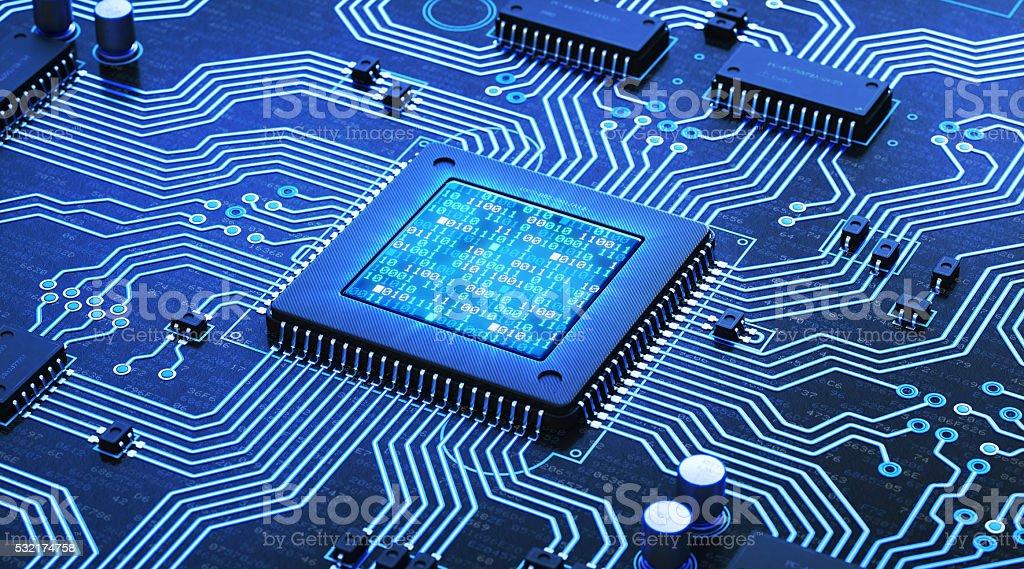 Circuito azul con números de código binario - foto de stock