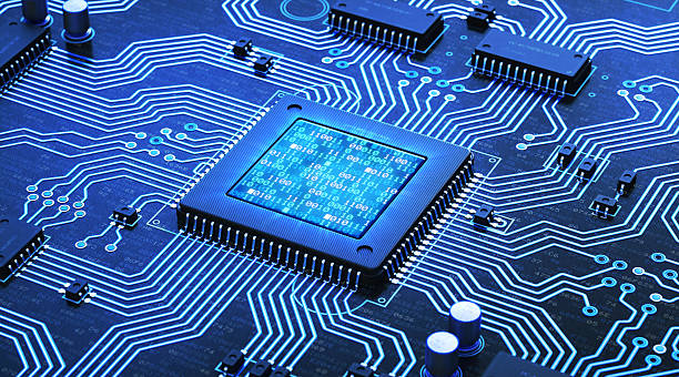 blue circuit with binary numbers - mother board stock photos and pictures