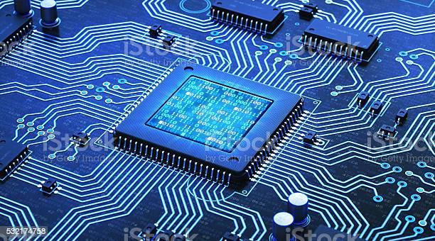 Blue Circuit With Binary Numbers-foton och fler bilder på Abstrakt