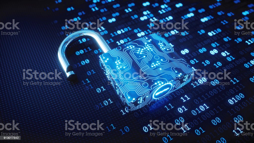 Fechadura digital azul circuitos em código binário - foto de acervo