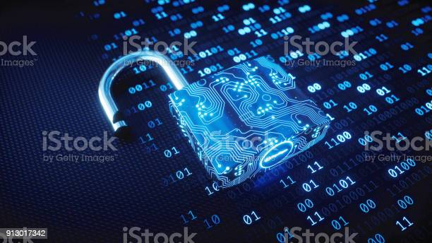 Blue Circuitry Digital Lock On Binary Code — стоковые фотографии и другие картинки Абстрактный