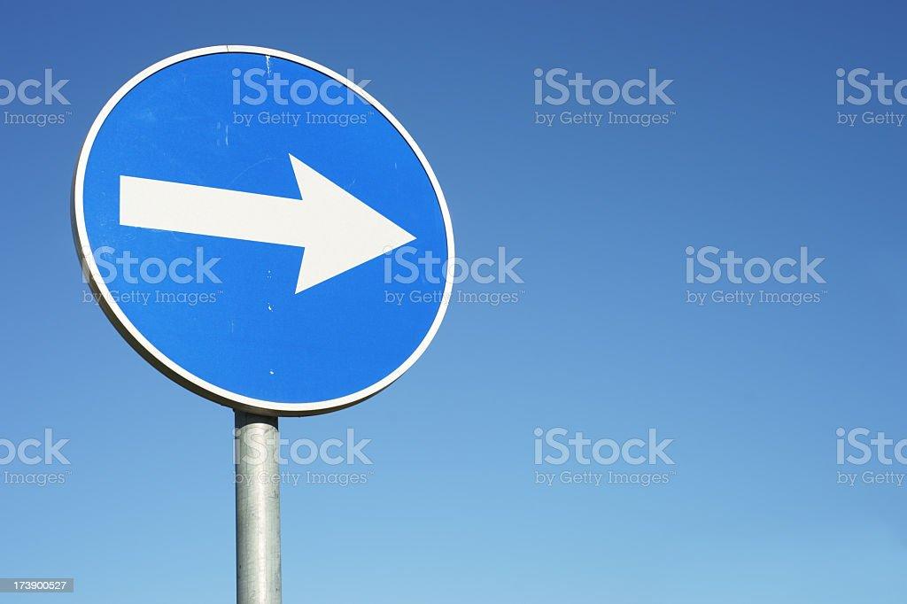 信号を右折し、コピースペース付き ストックフォト