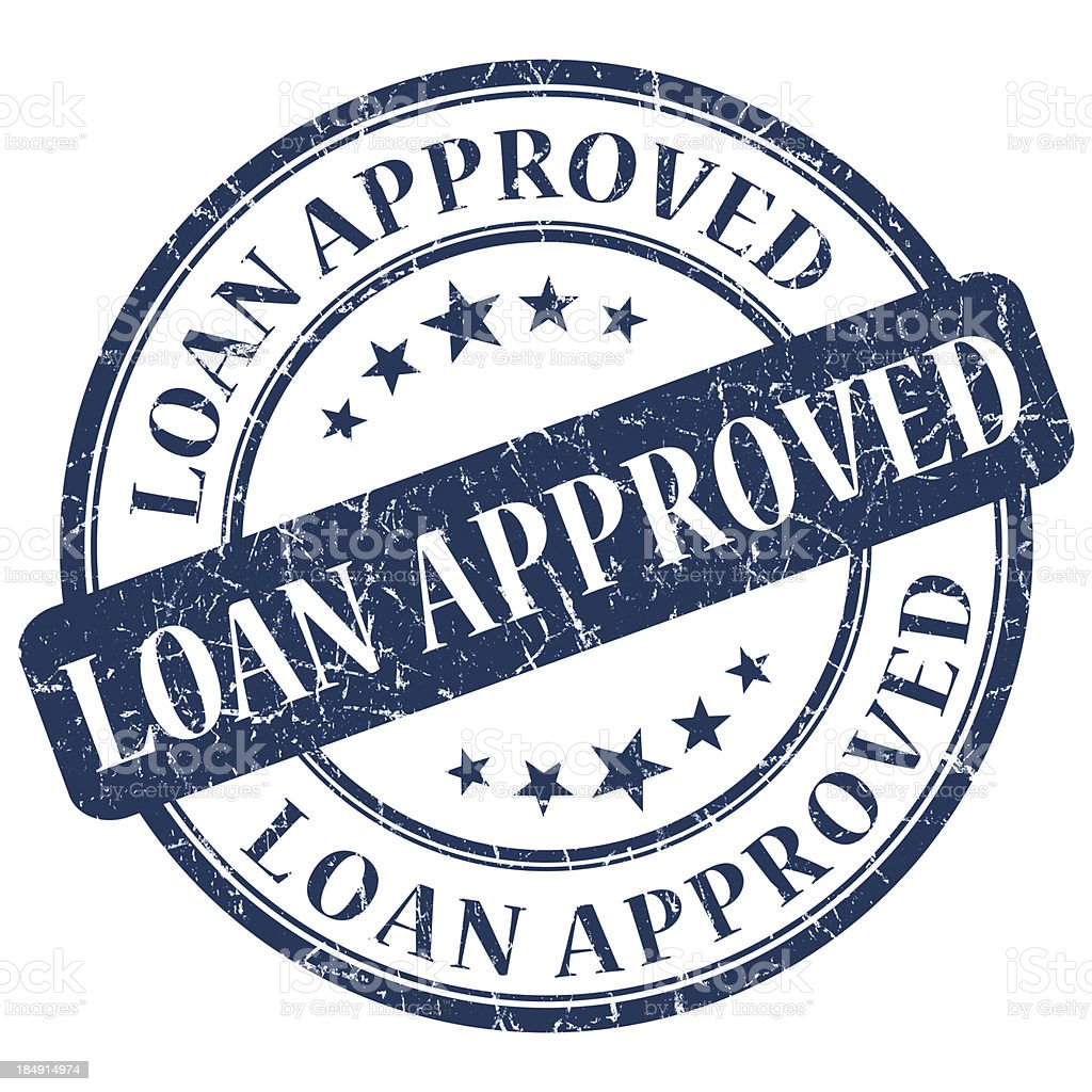 Blue circular stamp indicating loan approval stock photo
