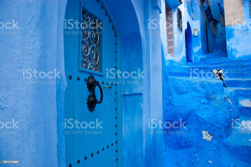 Blue City Morocco royalty-free stock photo