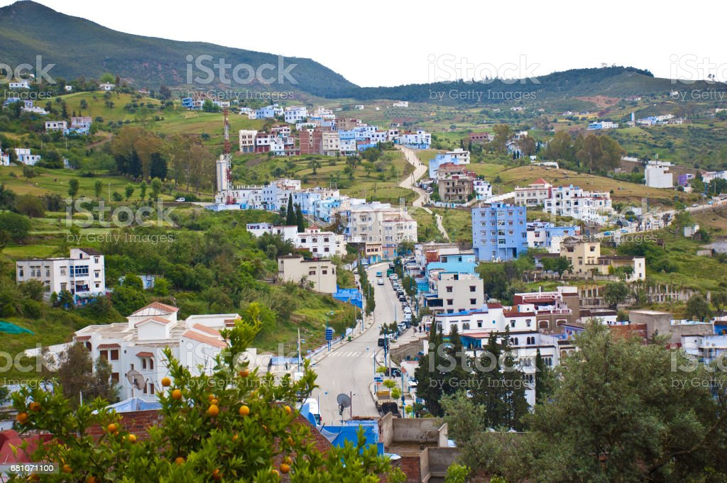 Blue City Morocco stock photo