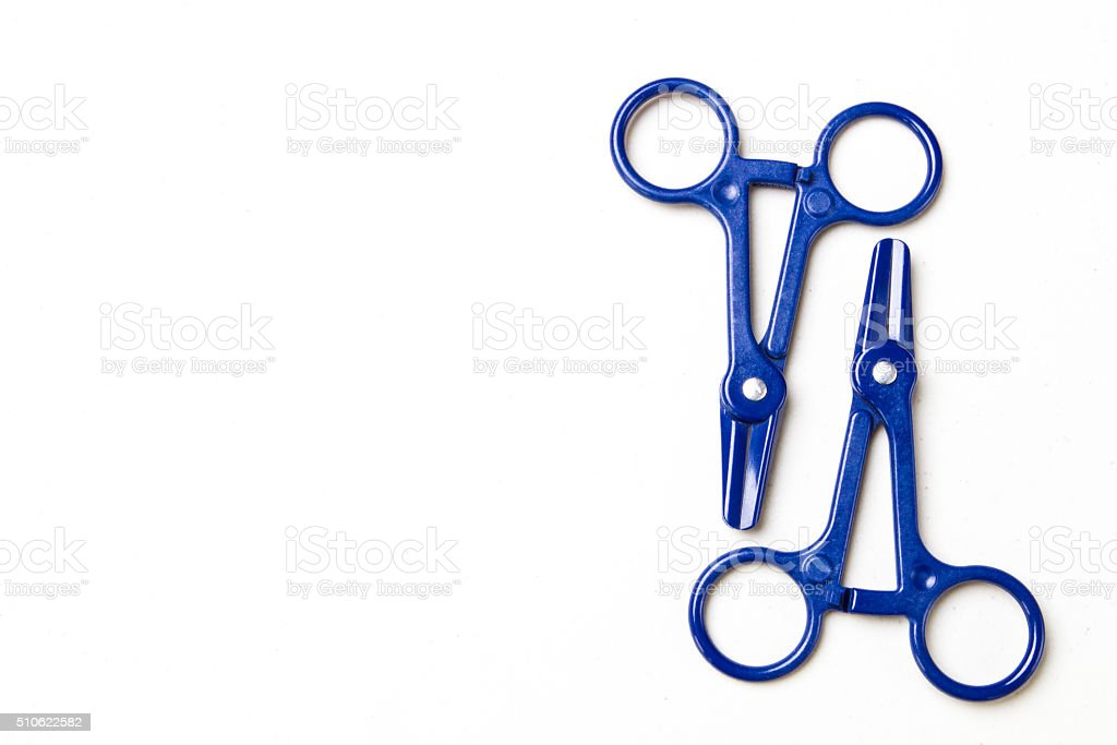 Blue Clamps for Dialysis and Blood Collection stock photo