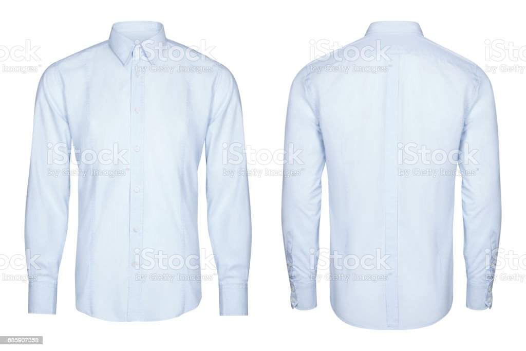 blue classic and business shirt, shirt, white background stock photo