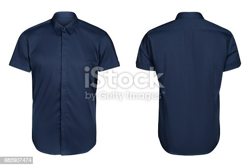 istock blue classic and business shirt, short sleeved shirt, white background 685907474