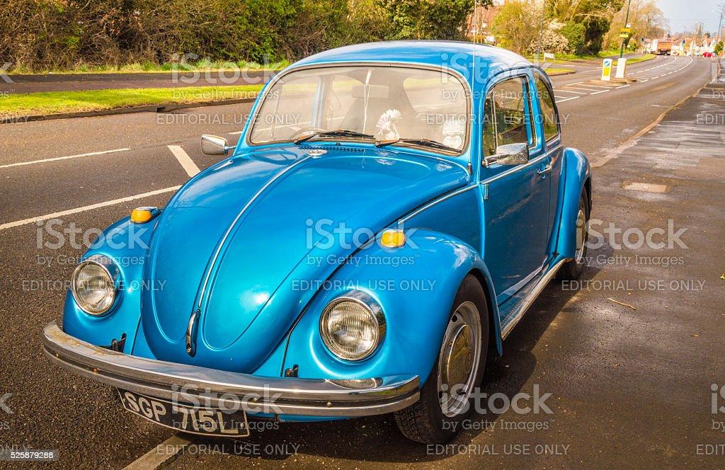Blue classic car Beetle stock photo