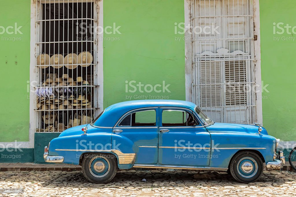 Blue classic car in Trinidad, Cuba stock photo