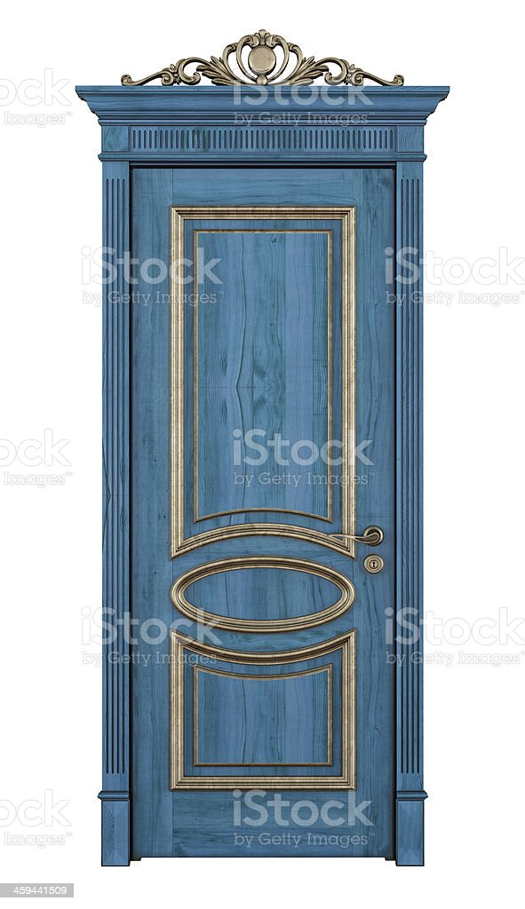 Blue classic door on white stock photo
