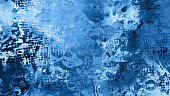 istock Blue Classic Grunge Abstract Art Marbling Ink Spray Messy Paint Oil Acrylic Imitation Digital Wet Pattern Background Trendy Color 1193762020