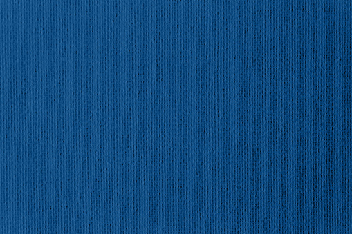 Blue Classic Primed Artist's Canvas Fabric Background Trendy Color of Year 2020 Close-Up Texture Grid Pattern Macro Photography Copy Space Design template for presentation, flyer, card, poster, brochure, banner